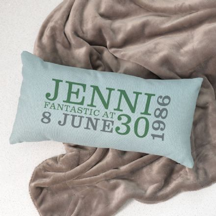 Personalised 30th Birthday Rectangular Cushion